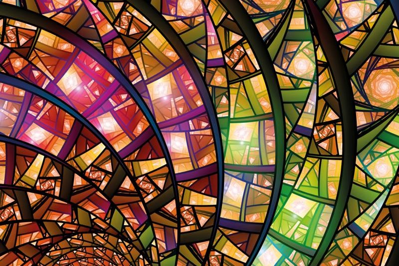 Colorful stained-glass, computer generated abstract fractal background