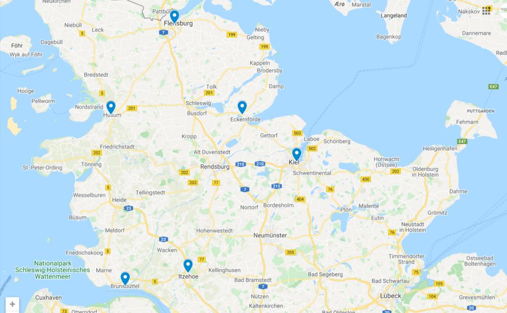 Karte mit sechs Krebsberatungsstellen in Schleswig-Holstein